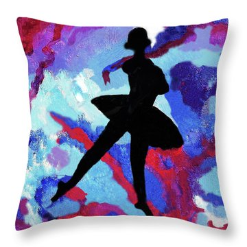 Ballerina With Ribbons Throw Pillow