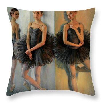 Ballerinas In Black Tutu Throw Pillow