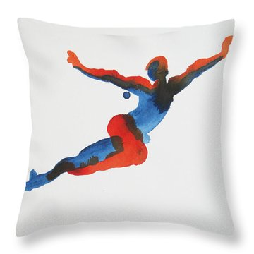 Ballet Dancer 1 Flying Throw Pillow by Shungaboy X