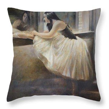 Reflexion.ballet Dancer In White Tutu Painting Dance Art Throw Pillow