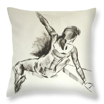 Ballet Dancer Sitting On Floor With Weight On Her Right Arm Throw Pillow