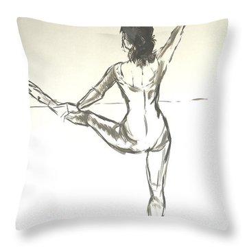 Ballet Dancer With Left Leg On Bar Throw Pillow