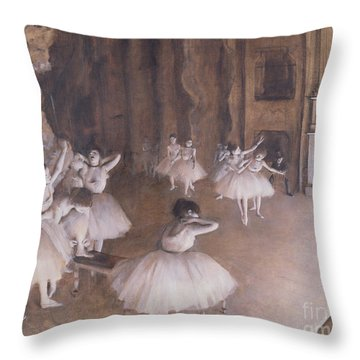 Ballet Rehearsal On The Stage Throw Pillow by Edgar Degas