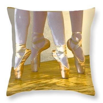 Ballet Second Position In Gold Throw Pillow