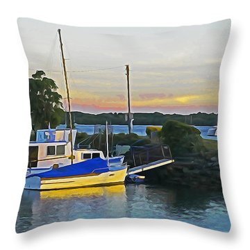 Ballina Boats Throw Pillow by Dennis Cox WorldViews