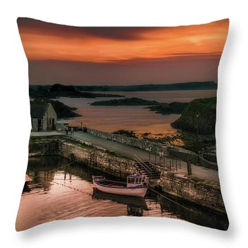 Ballintoy Harbour Sunset Throw Pillow