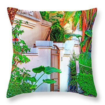 Throw Pillow featuring the photograph Ballona Lagoon Gate by Chuck Staley