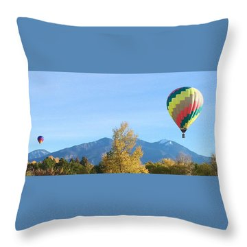 Ballons At Taos Mountain Throw Pillow