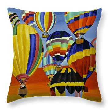 Balloon Expedition Throw Pillow by Donna Blossom
