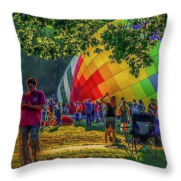 Throw Pillow featuring the photograph Balloon Fest Spirit by Kendall McKernon