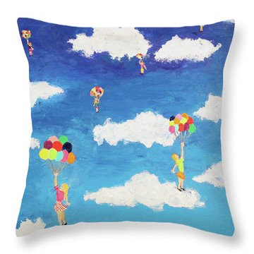 Balloon Girls Throw Pillow