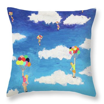Balloon Girls Throw Pillow by Thomas Blood