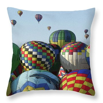 Balloon Traffic Jam Throw Pillow by Marie Leslie