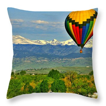 Ballooning Over The Rockies Throw Pillow by Scott Mahon
