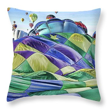 Ballooning Waves Throw Pillow by Marie Leslie
