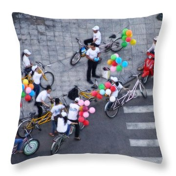 Balloons And Bikes Throw Pillow by Cameron Wood