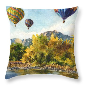 Balloons At Twin Lakes Throw Pillow by Anne Gifford