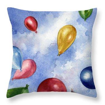 Balloons In Flight Throw Pillow