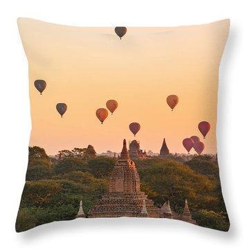 balloons over Bagan - Myanmar Throw Pillow