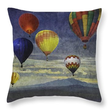 Balloons Over Sister Mountains Throw Pillow