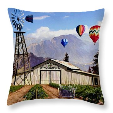 Balloons Over The Winery 1 Throw Pillow