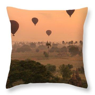 Balloons Sky Throw Pillow by Marji Lang