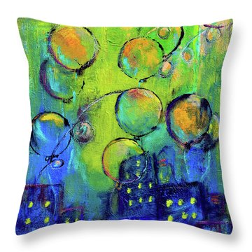 Cheerful Balloons Over City Throw Pillow