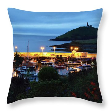 Ballycotton Ireland Marina Harbour And Lighthouse East County Cork Throw Pillow