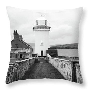 Ballyglass Lighthouse Mono Throw Pillow