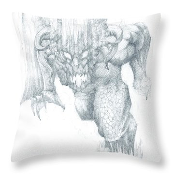 Balrog Sketch Throw Pillow by Curtiss Shaffer