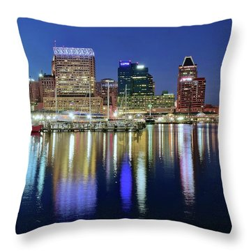 Baltimore Blue Hour Throw Pillow by Frozen in Time Fine Art Photography