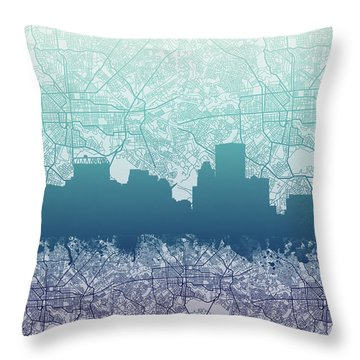 Throw Pillow featuring the painting Baltimore City Skyline Map 2 by Bekim Art
