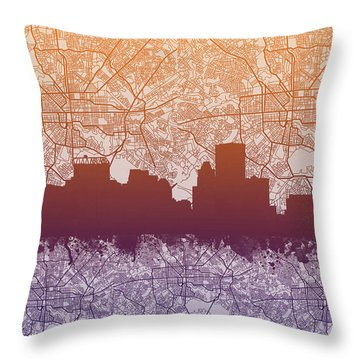 Throw Pillow featuring the painting Baltimore City Skyline Map by Bekim Art