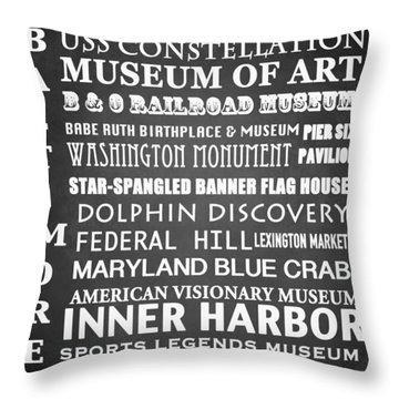 Baltimore Famous Landmarks Throw Pillow