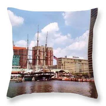 Baltimore Harbor Panorama Throw Pillow