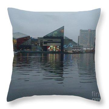 Baltimore Harbor Reflection Throw Pillow by Carol Groenen