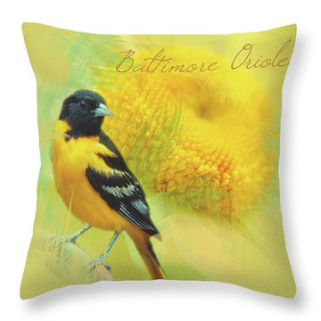 Baltimore Oriole Watercolor Photo Throw Pillow by Heidi Hermes