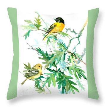 Baltimore Orioles And Oak Tree Throw Pillow by Suren Nersisyan