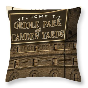 Baltimore Orioles Park At Camden Yards Sepia Throw Pillow