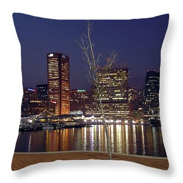 Throw Pillow featuring the photograph Baltimore Reflections by Brian Wallace