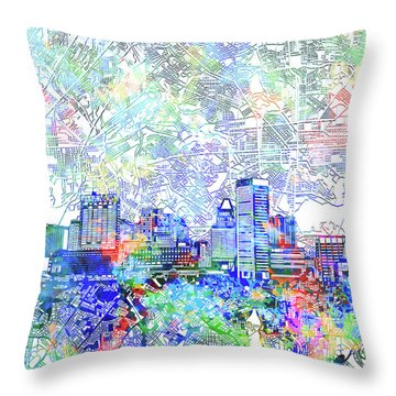 Throw Pillow featuring the painting Baltimore Skyline Watercolor 10 by Bekim Art