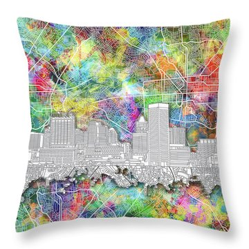 Throw Pillow featuring the painting Baltimore Skyline Watercolor 12 by Bekim Art