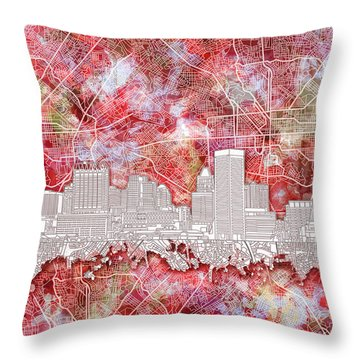 Throw Pillow featuring the painting Baltimore Skyline Watercolor 13 by Bekim Art