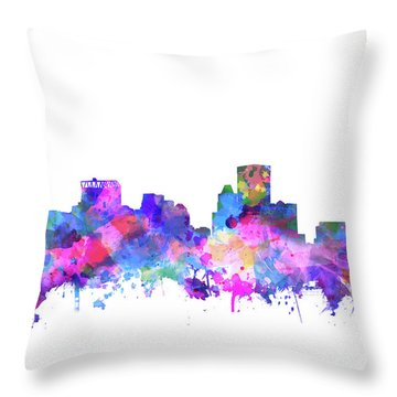 Throw Pillow featuring the painting Baltimore Skyline Watercolor 4 by Bekim Art