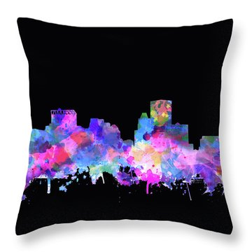 Throw Pillow featuring the painting Baltimore Skyline Watercolor 5 by Bekim Art