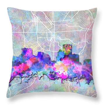 Throw Pillow featuring the painting Baltimore Skyline Watercolor 6 by Bekim Art