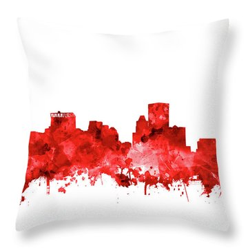 Throw Pillow featuring the painting Baltimore Skyline Watercolor 7 by Bekim Art