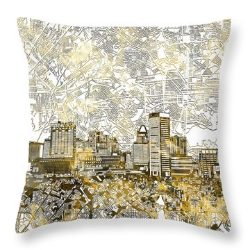Throw Pillow featuring the painting Baltimore Skyline Watercolor 8 by Bekim Art