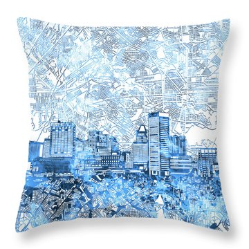 Throw Pillow featuring the painting Baltimore Skyline Watercolor 9 by Bekim Art