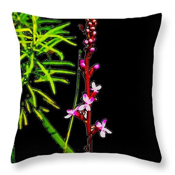 Bamboo And Flowers Throw Pillow
